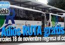 Miércoles 18 de noviembre regresa el cobro de RUTA